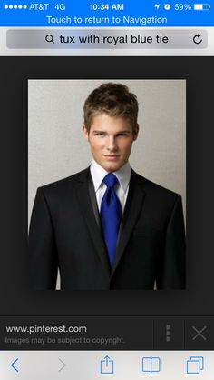 Black tux with royal blue tie