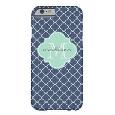 Navy and Mint Green Quatrefoil Custom Monogram Barely There iPhone 6 Case