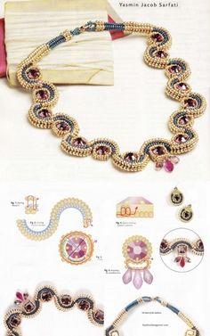 CubikRAW technikával készült. Anyag mennyiség: Golden gyöngyök # 10 - szürke-kék gyöngy # 12 - rubin kristályok pereménél körülbelül 6 mm átmérőjű - csiszolt gyöngyök formájában csepp
