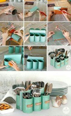Transformer des boîtes de conserve en range couverts / #DIY / #Tuto / #Upcycling / #détournement