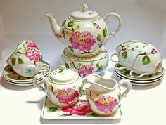 Vintage Tea Set Peonies AW Hibiskus by SmeerlingAntiques on Etsy, €200.00