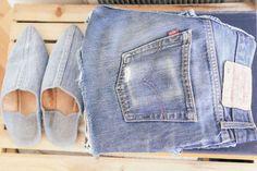 waiting for saturday : rajni jacques vintage levi's cutoffs; brother vellies denim slipper