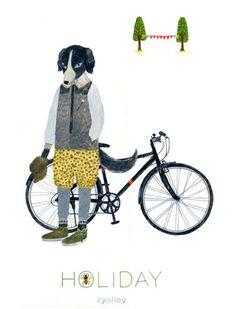 Border collie with his bike . nice-nice-nice