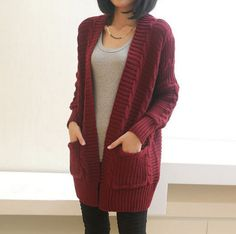 Chunky Knit Port Cardigan- Open Front Cardigan Sweaters with pockets.Chunky Knit Port Cardigan Click the image for more info.A chunky sweater cardigan featuring a braided pattern and split back. On-seam pockets.V Neck Vintage Thick Women Cardigan Knitted Looks Style, Looks Cool, Style Me, Sweater Coats, Sweater Cardigan, Burgundy Cardigan, Chunky Cardigan, Dress With Long Cardigan, Chunky Sweater Outfit