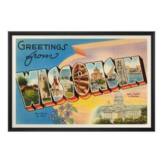 Wisconsin WI Large Letter Greetings from Wisconsin Vintage Linen Postcard Wisconsin WI Large letter greetings from Wisconsin with State Capitol in Madison and state flower Violet. Unused T Photo Postcards, Vintage Postcards, Vintage Cards, Cities In Wisconsin, Wisconsin Vacation, Lake Michigan, Travel Souvenirs, Large Letters, Vintage Travel
