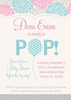 Ready to Pop Balloon Pink & Blue Baby Shower by PartyPopInvites, $16.00