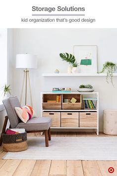 Pillowfort has storage solutions that are worth showing off—wooden crates fit into any shelf, plus the open bins and wire designs are both stackable. They're a clean and modern option for keeping toys and games organized in a family room or space the whole family shares.: