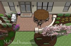 Small, Cozy Patio with Seating Wall - Patio Designs & Ideas