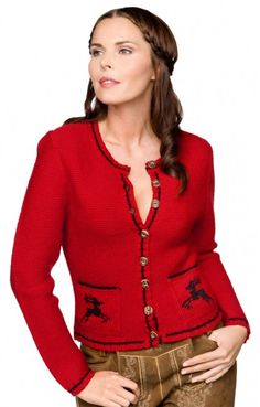 Traditional Bavarian CARDIGAN Nola red