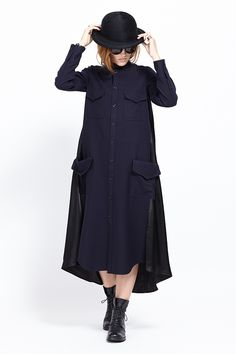 Y's by Yohji Yamamoto Four Pocket Shirt Dress (Navy)