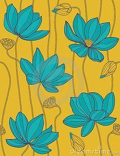Illustration about Lotus - floral seamless pattern. Illustration of pattern, floral, flower - 11401153 Lotus Kunst, Art Lotus, Blue Lotus, Lotus Painting, Mural Painting, Fabric Painting, Lotus Drawing, Design Floral, Motif Floral