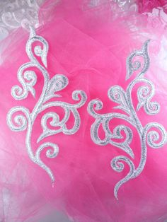 Iron On Silver Metallic Mirror Pair Scroll Embroidered Appliques Measures: 7 x 3 each  Use for any of your craft projects. Iron on, sew on or glue