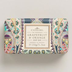 Handcrafted by artisans in Portugal, our Castelbel Grapefruit & Orange Bar Soap was produced using a traditional triple-milled technique. This luxurious soap combines exquisite fragrances with high quality olive, palm and coconut oils. Beautiful hand-finished packaging makes it a perfect gift.:
