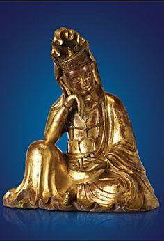 Nachdenklicher Avalokiteshvara China, Yuan-Dynastie, 14. Jahrhundert n. Chr. vergoldete Bronze, Höhe 49 cm Privatsammlung (ehemals Sammlung Alfred Speelman, London) © Photo: Weltkulturerbe Völklinger Hütte | Hans-Georg Merkel