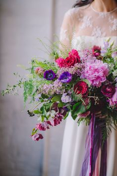 This wedding bouquet is absolutely perfect for a spring wedding and we are super excited for #peonyseason We designed this #gardenstylebouquet using #peonies #anemones #gardenroses and #hellebores and added trailing silk ribbon! Wanting a statement, English garden style bouquet like this? Get in touch with our Calgary Floral Studio! 📷 Amanda Dumouchelle #calgary #calgaryflorist #springweddingflowers #peonybouquet Anemone Bridal Bouquet, Flower Girl Bouquet, Lavender Bouquet, Rose Wedding Bouquet, Bouquet Toss, Peonies Bouquet, Pink Bouquet, Bridesmaid Bouquet, Floral Wedding