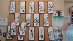 Cerisiers en fleurs, encre de chine, nouvel an chinois. Par ma collègue Carolyne. Classe de maternelle, préscolaire 2014