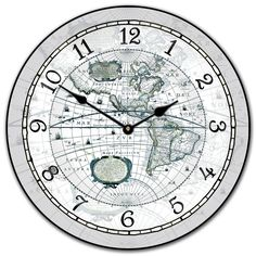 Designed in very pale blue almost a gray this Century World Map clock can be placed in either a traditional or modern setting is available in sizes 12 Grey Clocks, Wall Clocks, Map Globe, Book Pages, 16th Century, Wallpaper, Modern, Blue, Vintage