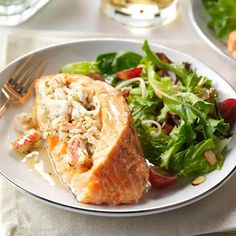 These imitation crab recipes are light, flaky and easy on the budget.You could get stuffed salmon from a big-box store, but my fillets are loaded with flavor from crab, cream cheese and savory herbs. Salmon Recipes, Fish Recipes, Seafood Recipes, Dinner Recipes, Sauce Recipes, New Cooking, Cooking Recipes, Cooking Ideas, Healthy Recipes