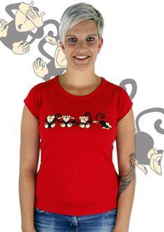 Affe Damen T-Shirt  http://www.bastard-shop.de/damen-t-shirts/affe-rotes-damen-t-shirt-119/