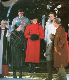 29 December 1985~Princess Diana wears a red military style coat by Piero de Monzi & Marina Killery velvet hat to Church at Sandringham