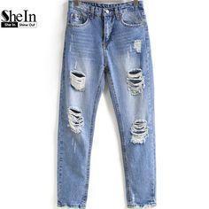 SheIn Spring Women Holes Denim Pants Mid Waist Blue Bleached Ripped Pockets Long Trousers Boyfriend Casual Jeans
