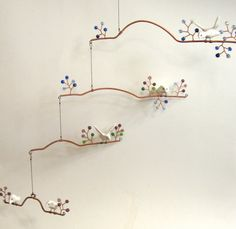 Birds and Beads Hanging Mobile ExtraLarge by RocklenDesigns