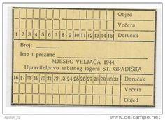 CROATIA / CONCENTRATION CAMP JASENOVAC - SUBCAMP STARA GRADISKA , MEAL CARD 1944 - RARE WWII HOLOCAUST ISSUE !!! http://www.delcampe.net/page/item/id,92512384,var,CROATIA-CONCENTRATION-CAMP-JASENOVAC--SUBCAMP-STARA-GRADISKA-MEAL-CARD-1944--RARE-WWII-HOLOCAUST-ISSUE-,language,E.html