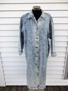 b248fe00f3c Vintage 1980 s Acid Wash Denim Long Duster Jacket Womens L Heartland Jeans   HeartlandJeans  Casual