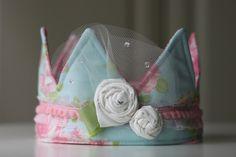 Crown Photo Prop, Princess Birthday Hat,Shabby Chic Fabric Crown. $29.00, via Etsy.