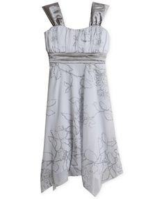 Speechless Girls' Floral Hankerchief-Hem Dress
