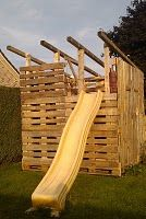 Play house made from pallets.
