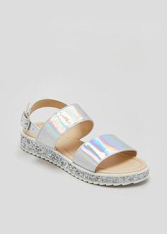 c399eb5c54dd Girls Iridescent Glitter Twin Strap Sandals (Younger 10-Older 5) – Silver