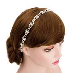 Wedding Rhinestone Lace Headband Luxe Style Bridal Hair Accessories (Ivory Ribbon) -- Click image for more details.