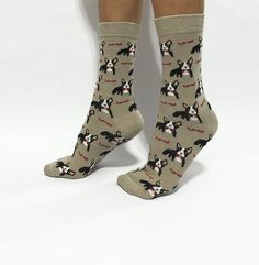 Boston Terrier Socks Dog Socks Novelty Socks Boot by NiftySox