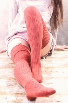 Over Knee High Socks,Feminine Floral Pattern Nature Inspired Old Fashioned Blooming Flowers,60CM