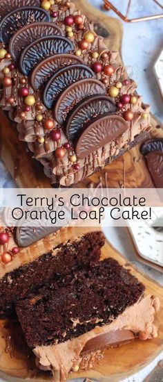 A Delicious and Sweet Terry's Chocolate Orange Loaf Cake studded with Terry's Chocolate Orange Chunks, and a Terry's Chocolate Orange Buttercream Frosting!