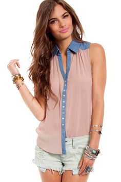 Chambray Chiffon Button Down Top $34 at www.tobi.com