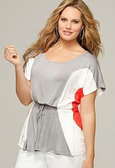 Plus Size Tie Front Colorblock Top | Plus Size Tops SALE | Avenue - I love this color-blocking! So slimming.