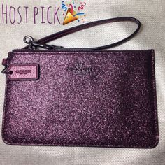 "🌟🎉HP 5.30.16: Coach wristlet🎉🌟 Coach cherry glitter wristlet with gray hardware. Has two interior slots for cards/ID. Measures 4 1/2"" x 7"". Great for any fun night out!🍷 Coach Bags Clutches & Wristlets"