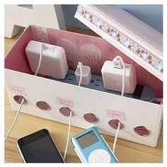 Use A Cute Decorated Box To Hide Ugly Wires And Power Cords