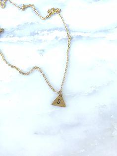 Mini Brass Triangle Initial Necklace Personalized Letter Necklace Single Initial Triangle Charam