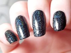 Stamping nail art.  Enchanted Polish: Djinn-in-the-bottle-black-eyeslipsface-swatch-review-nailz-craze-n01-vampire-evil-queen-fairytale-nailart-gothic-maleficient (5)