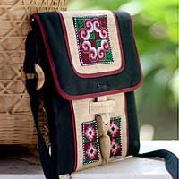 Hemp shoulder bag, 'Ethnic Stars'  Embroidered in precise patterns, hill tribe motifs form colorful stars. Anchalika Chamnan works with locally grown or prepared materials to craft this chic shoulder bag. The cotton motifs are applied to hemp, while longan wood hoops attach the straps.