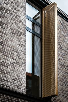 Operable window covering - The Frederiksberg Courthall Building by through the Lens of Architecture & Design student from Aalborg University Denmark: Mike Dugenio. Metal Facade, Brick Facade, Brick Design, Facade Design, Exterior Design, Brick Architecture, Architecture Details, Interior Architecture, Building Facade