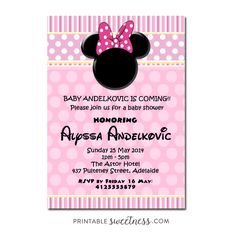 Minnie Mouse Baby Shower Invitation U2013 Custom Personalized Printable Baby  Girl | Printable Sweetness