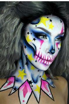 Halloween Makeup Sugar Skull, Creepy Halloween Makeup, Sugar Skull Makeup, Clown Makeup, Fx Makeup, Halloween Makeup Looks, Costume Makeup, Makeup Tips, Easy Halloween
