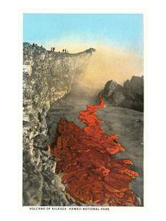 Kilauea Volcano, The Big Island of Hawaii from a Vintage Postcard. #volcano #lava #hawaii