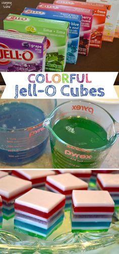 DIY Rainbow Jell-O Cubes - Mommy Scene