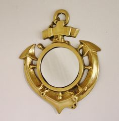 Vintage brass anchor mirror, $58