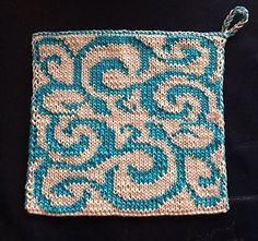 Ravelry: Scrollwork DF-Square in 2 Options pattern by Wineta Double Knitting Patterns, Knitting Charts, Loom Knitting, Knitting Designs, Knitting Stitches, Knitting Projects, Potholder Patterns, Loom Patterns, Stitch Patterns